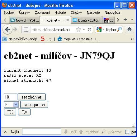 webové rozhraní cb2net