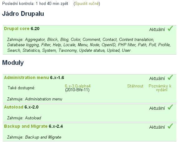 drupal aktualizace
