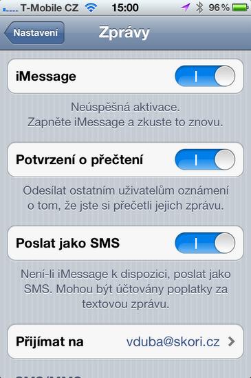vypnutí iMessage Odeslání iMessage jako SMS