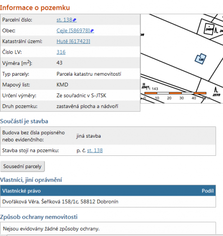 Katastrální mapa chata č.2