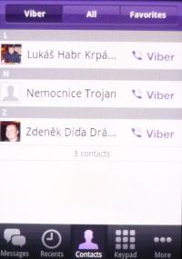 Seznam kontaktů Viber